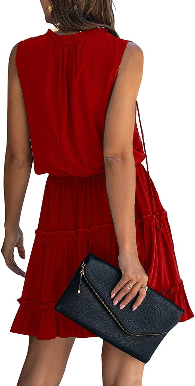 Rela Bota Women's Flowy Mini Swing Dress - Casual Loose Long Sleeve V Neck Ruffle Tiered Chiffon Short Dress