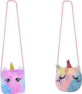 Aashiya - 2 Pieces Little Girl Unicorn Fur Plush Coin Purses Crossbody Purses Sling bag