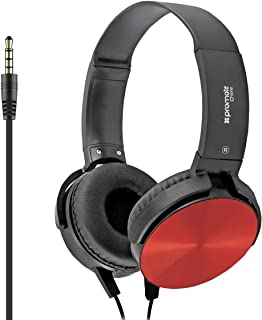 Promate Headphone with Microphone, Lightweight Rotatable Over-Ear Metallic Headphones with Built-In Microphones, Tangle Free Cord and HD Sound Quality for Travel, DVD, Home, Music, Chime Red