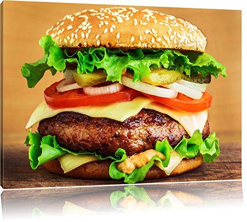 Hamburger Mc Donalds Cheesburger Burger Essen Fleisch Format: 80x60 cm auf Leinwand, XXL riesige Bilder fertig gerahmt mit Keilrahmen, Kunstdruck auf Wandbild mit Rahmen, günstiger als Gemälde oder Ölbild, kein Poster oder Plakat