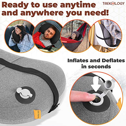 Inflatable Pillow for Camping, Backpacking Pillow, Travel, Hiking, Camping Pillow- Removable Foam Cover, Compact Ultralight Blow Up Air Pillows for Sleeping, Pad Attachment Strap for Camp Mat.