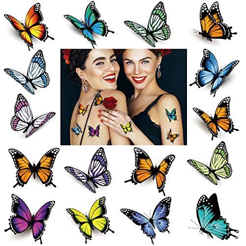 32 stk. Schmetterling Tattoos für Frauen, 3D bunte Körperkunst temporäre Tattoos, wasserdichte gefälschte Tattoo Aufkleber, Kinder Schmetterling Party Gefälligkeiten