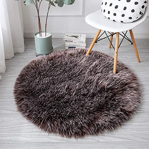 GIOH Runde Weiche Faux Schaffell Pelz Bereich Teppiche Für Schlafzimmer Wohnzimmer Boden Shaggy Seidige Plüsch Teppich Weiß Faux Pelz Teppich Nacht Teppiche