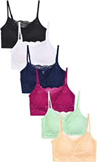 Sofra 6-Pack Wireless Seamless Lace Bras Padded Bralettes Adjustable Straps Variety Color