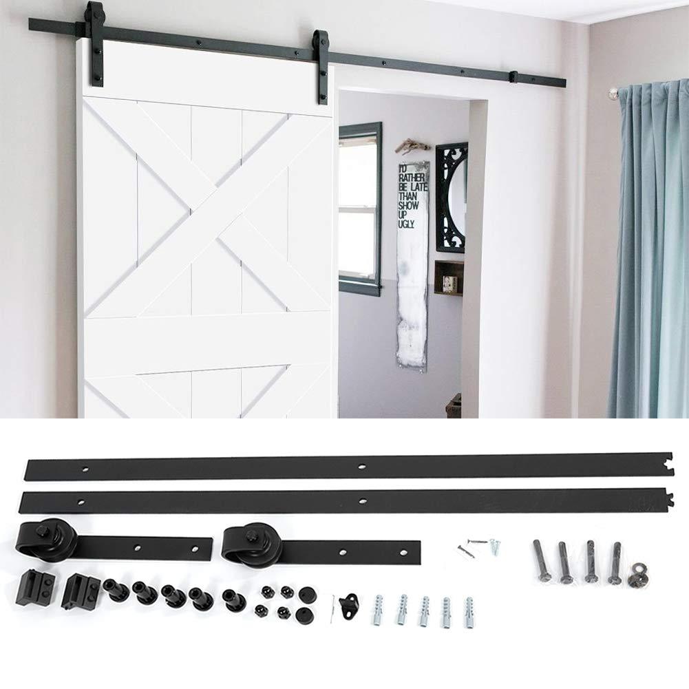 Kit de herramientas para puerta de granero, clásico y vintage, riel deslizante para puerta de armario, percha para colgar en la parte superior, kit de riel de riel, negro(1 riel deslizante): Amazon.es: