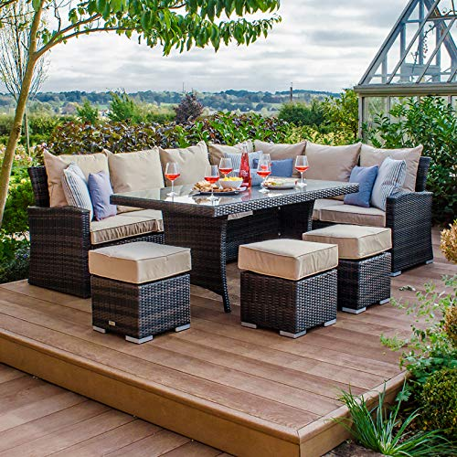 Nova Outdoor Living - Cambridge Outdoor Right Hand Corner Sofa Dining Set with Parasol Hole - Flat Brown Weave