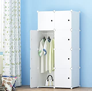 MEGAFUTURE Portable Wardrobe for Hanging Clothes, Combination Armoire, Modular Cabinet for Space Saving, Ideal Storage Organizer Cube for books, toys, towels (8-Cube, Extra Stickers Included)