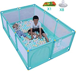 FCXBQ 8-piece baby playpen with basketball basket and floor mats  foldable room divider for children s room  Oxford fabric fence  green