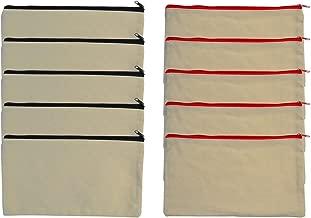 baotongle 10 PCS Multi-Purpose Cotton Canvas Zipper Invoice Bill Bag Pen Pencil Cosmetic Makeup Bag Pouch Blank DIY Craft Bag 9 x 5 inches Random Color Zipper