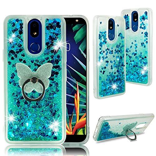 Zase Design für LG STYLO 5, Stylo 5 Plus [Liquid Glitter Sparkle Bling] Süße Mädchen Frauen Schutzhülle Weiche Hülle stoßfest Wasserfall schwimmend Treibsand mit [Phone Ring Grip Holder], blaugrün