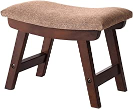 Yxsdd Upholstered Footstool Pouffe Ottoman Wood Stool,Elegantly Curved Rest Chair Living Room Bedroom Bench,Light Brown Cover