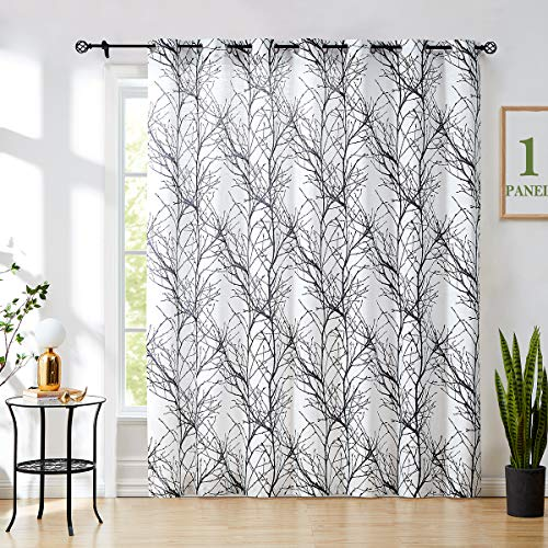Fmfunctex Black-White Sheer Sliding Door Curtain for Living Room 1 Panel Modern Tree Branch Print Linen Textured Window Curtain for Office Single Panel 100w x 84