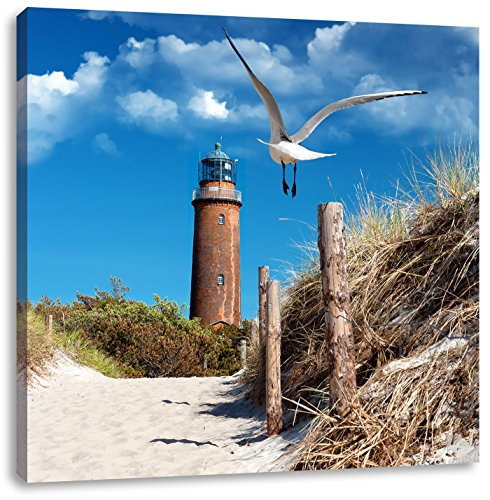 Pixxprint Schöner Leuchtturm am Strand als Leinwandbild | Größe: 40x40 cm | Wandbild| Kunstdruck | fertig bespannt