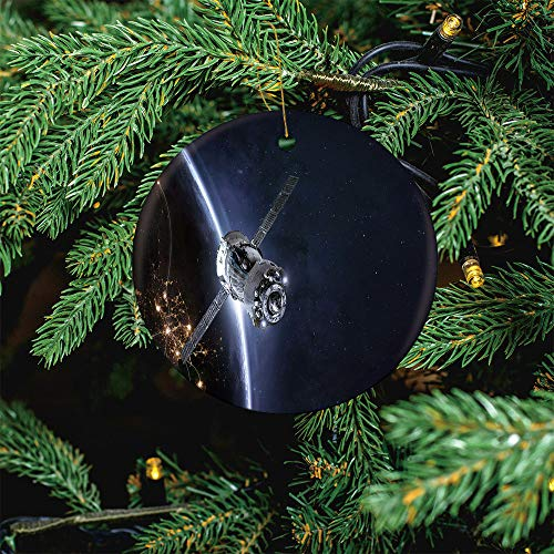 ALUONI Spaceship in The Space and Earth in The Christmas Ornaments 2020 Christmas Ceramic Pendant Personalized Creative Christmas Decorations Double Sided Christmas Tree Ornament SW09122 1PCS