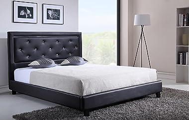 PEGANE Lit Double 160 x 200 cm avec LED Coloris Noir en Simili-Cuir - Longueur 213 x Largeur 173 x Hauteur 115 cm