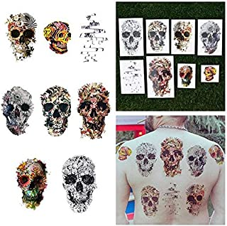 Tattify Various Skull Temporary Tattoos - Putting Our Heads Together (Set of 16 Tattoos - 2 of each Style) - Individual Styles Available - Fashionable Temporary Tattoos