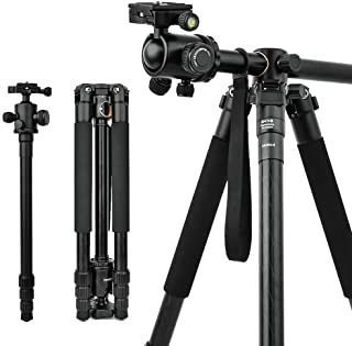 Camera Tripod & Monopod for DSLR, 62'' Professional Horizontal Arm Tripod with 360° Rotatable Metal Ball Head, 4 Sections ...