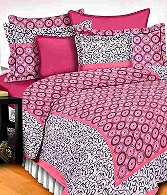 UniqChoice Floral Japuri Printed 120 TC 100% Cotton Double Bedsheet with 2 Pillow Cover ,Pink(UCBD_679)