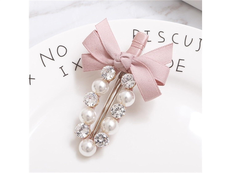 Osize 美しいスタイル ボウラインストーンパールヘアクリップバングヘアピンサイドクリップヘアピン(ピンク)