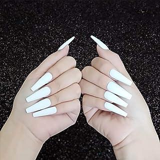 Handcess Chiodo falso opaco bara lungo bianco ballerina stampa sulle unghie colore puro copertura completa bastone per ung...