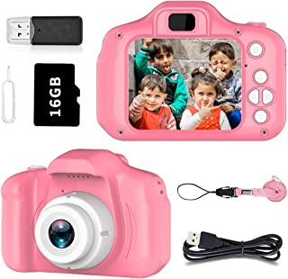 Toys for 3-6 Year Old Girls Pussan Kids Camera HD 1080P Digital Camera for Kids Video Recorder Small Cameras Silicone Soft Cover Camcorder Christmas Birthday Gifts for Children Party Outdoor Play