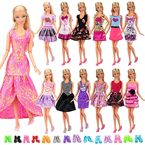 Barwa 12 Pcs Handmade Fashion Dresses Doll Clothes + 10 Pairs Shoes for 11.5 Inch Girl Doll