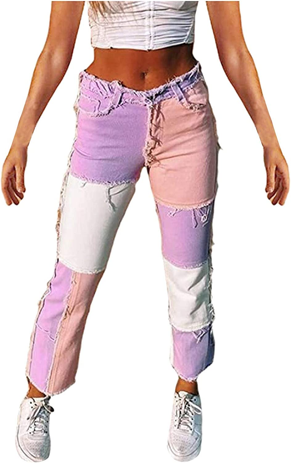 Kinsaiy High Waisted Denim Jeans for Womens,Trumpet Ripped Matching Spliced Long Pants Straight Casual Baggy Trousers