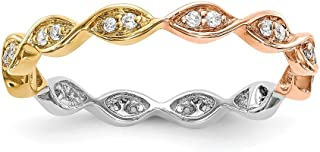 FB Jewels 14K White Yellow and Rose Three Color Gold 1/6 CTW Marquise Diamond Eternity Band ET