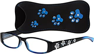 Select-A-Vision Dog Bone Rectangular Reading Glasses w/Pawprint Design, Blue, 1.25