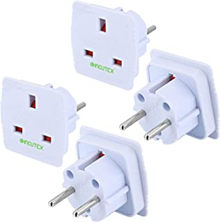 Incutex 2 x UK naar EU adapter reisadapter UK naar DE reisstekker UK naar DE netadapter UK 3-pins naar Euro 2-pins, wit
