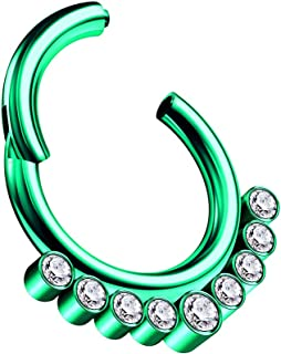 Piece of Anodized Surgical Steel CZ Stones Hinged Segment Nose Hoop Ring Piercing Cartilage Helix Septum Tragus Jewelry
