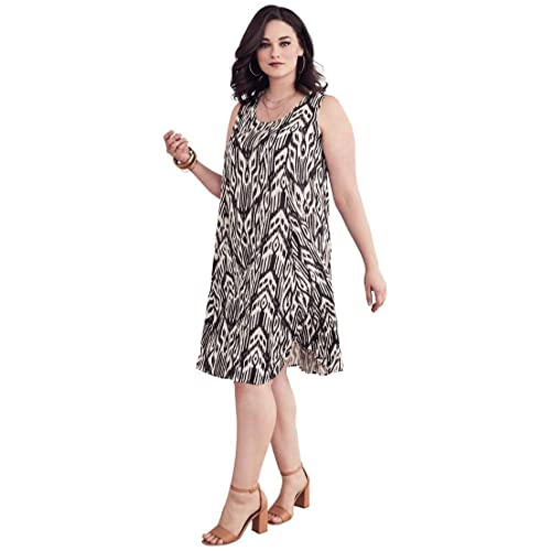 4ab359a233 Women's Plus Size Short Crinkle Dress - Chocolate Tribal, ...