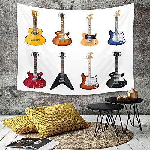 Tapestry, Wall Hanging, Gitarre, Eine Vielzahl von Saiteninstrumenten Realistisches Musikmuster Jazz Blues Akus,wall hanging wall decor, Bed Sheet, Comforter Picnic Beach Sheet home décor 180 x 230 cm