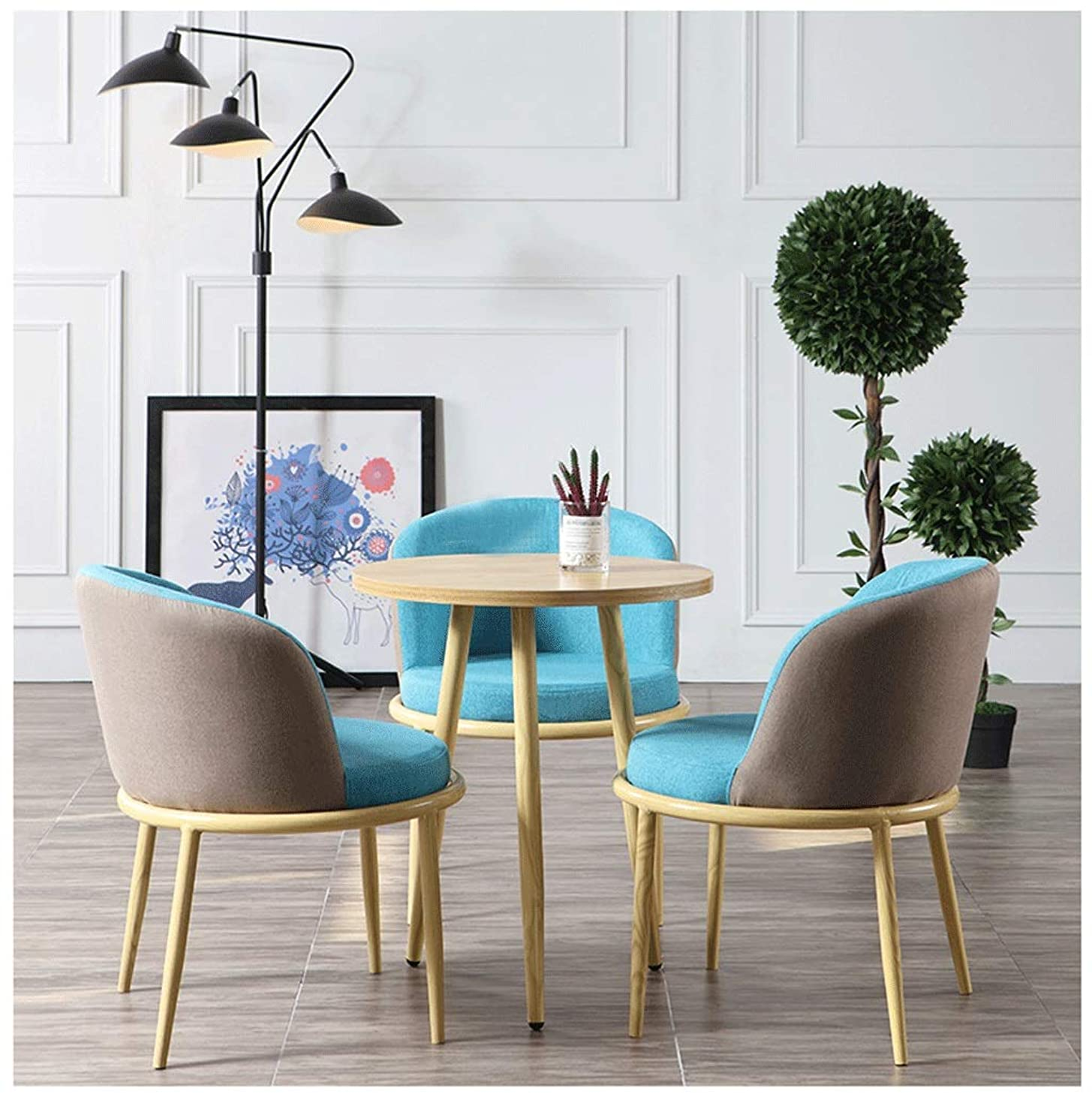 社説大きさ薄いです交渉のテーブルと椅子の組み合わせオフィスホテルフロントデスクラウンジ受付バルコニーリビングルームのベッドルームの研究コーヒーショップティーショップベーカリーケーキ屋ショッピングモールスーパーマーケットのレストラン1テーブル3椅子 (Color : Brown blue cloth)