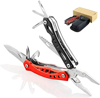 M&J 12 in 1 Multitool Pliers, Portable Multi Purpose Tool, Folding Stainless Steel Pliers with Knife, Saw, Bottle Opener, Screwdriver, Nylon Sheath for Camping, Cycling, Survival, DIY
