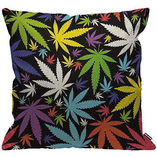 HGOD DESIGNS Kissenbezug, Marihuana-Blatt-Design, buntes Cannabis, Deko-Kissenbezug, für Männer/Frauen, Wohnzimmer, Schlafzimmer, Sofa, Stuhl, 45 x 45 cm