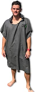 COR Board Racks Changing Towel Surf Poncho | Compact and Lightweight Micro-Suede Travel Fabric Dries Fast and Shakes of Sand | Now with Side Buttons to Open up to a Large Beach Towel