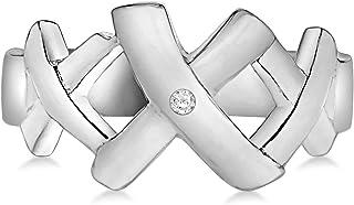 百合花环镀铑 925 纯银手工镶嵌钻石Eva 三吻十字戒指