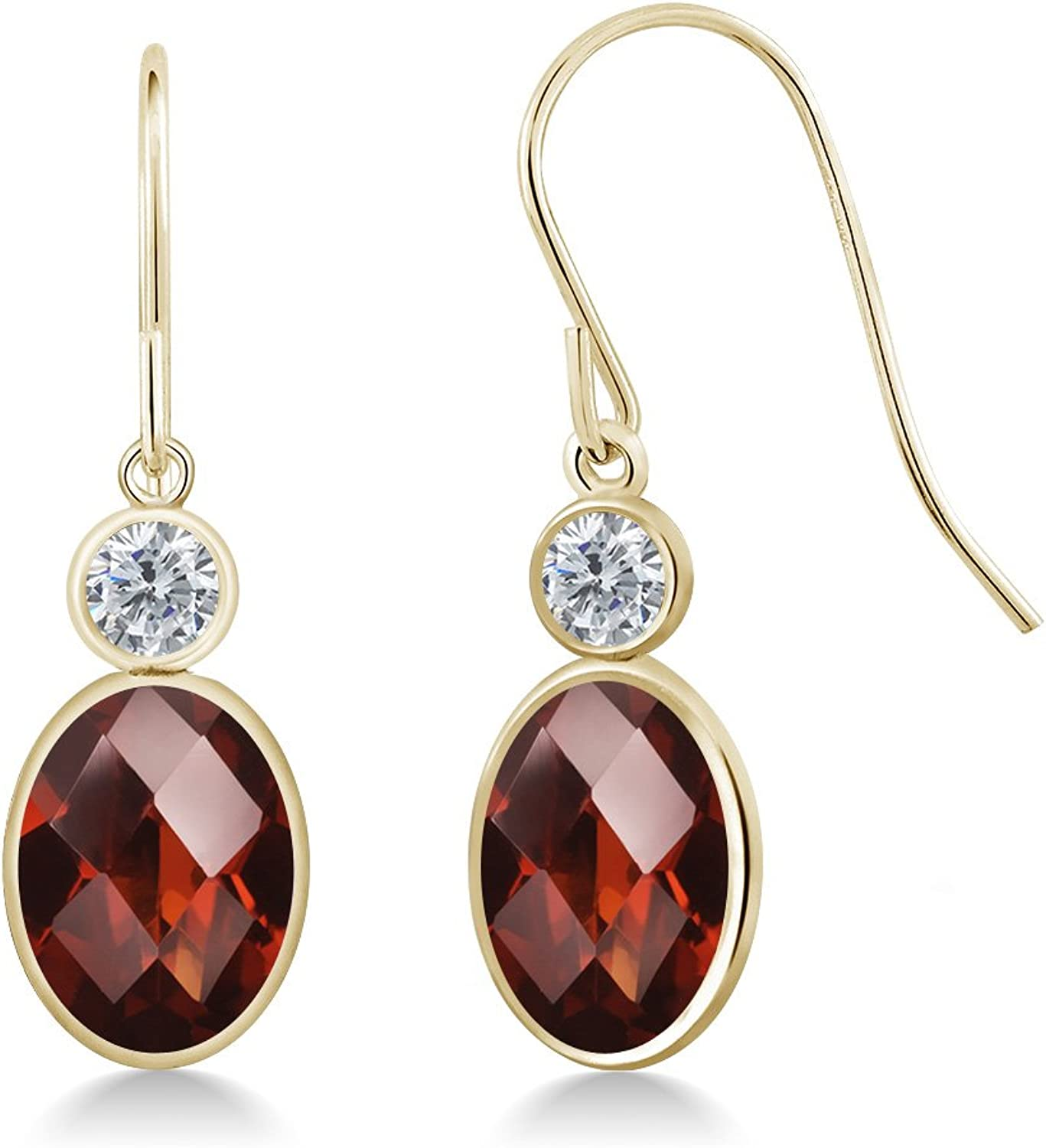 3.00 Ct Oval Checkerboard Red Garnet G H Diamond 14K Yellow gold Earrings