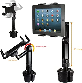 """ChargerCity Xtreme Tablet Drinks Beverage Cup Holder Mount w/10inch Long Arm & 360º Swivel Adjust for All 7""""-12"""" Screen Tablet Like Apple iPad PRO Air Mini Samsung Galaxy Tab Surface Pro/Book"""