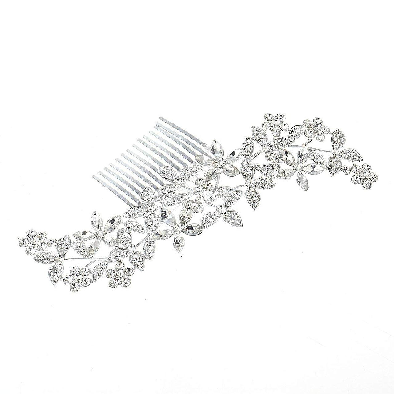 一般化する履歴書死すべきBlackfell 結婚式の髪の櫛クリスタルヘアジュエリー魅力的な結婚式の髪の櫛女性のための手作りの花の花嫁のヘッドドレス