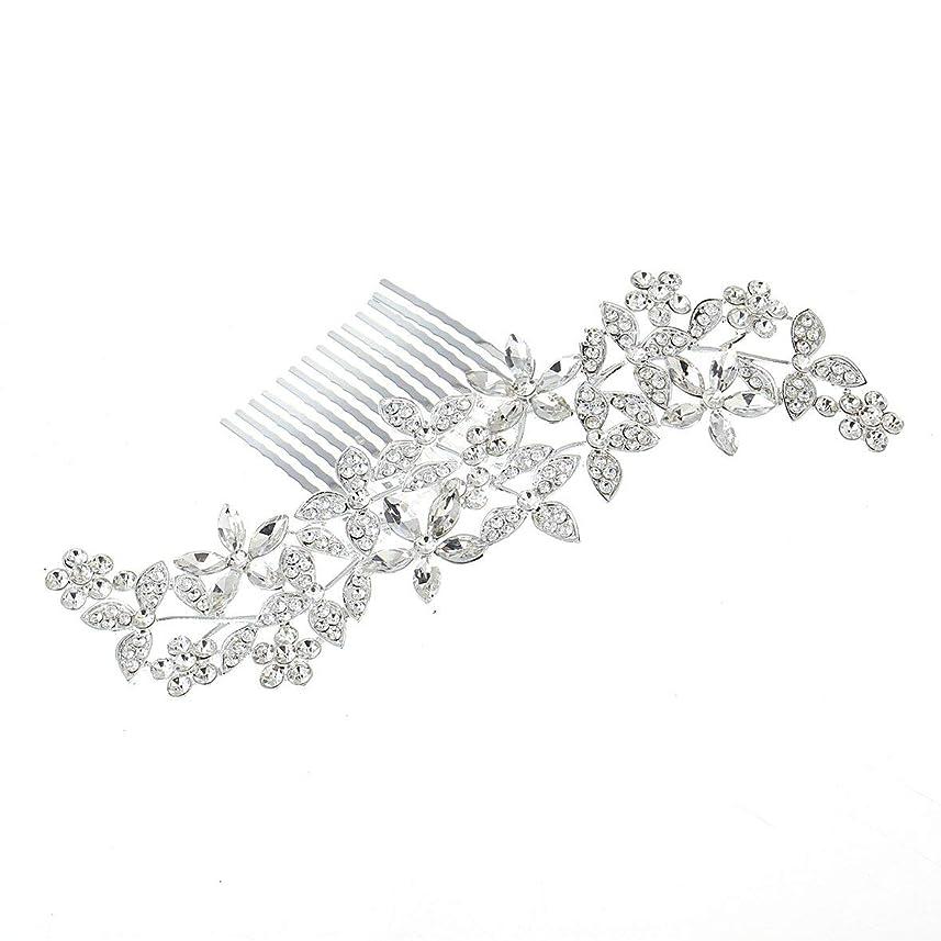 ベーリング海峡抑圧する協力するBlackfell 結婚式の髪の櫛クリスタルヘアジュエリー魅力的な結婚式の髪の櫛女性のための手作りの花の花嫁のヘッドドレス