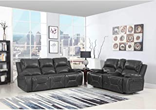 Blackjack Furniture 9422-GRAY-2PC The Brandon Collection 2-Piece Reclining Living Room Leather Sofa Set W/Console Loveseat, Gray