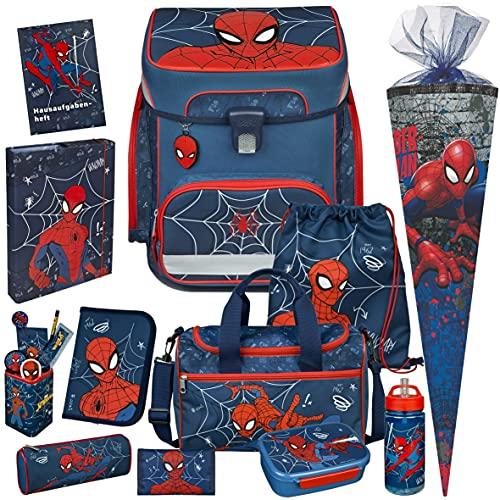 Spiderman - SCOOLI Undercover EasyFit Schulranzen-Set 13tlg. mit Sporttasche, BROTDOSE, TRINKFLASCHE, GELDBÖRSE, HEFTBOX A4, STIFTEBECHER 7tlg, SCHULTÜTE - HAUSAFGABENHEFT GRATIS!
