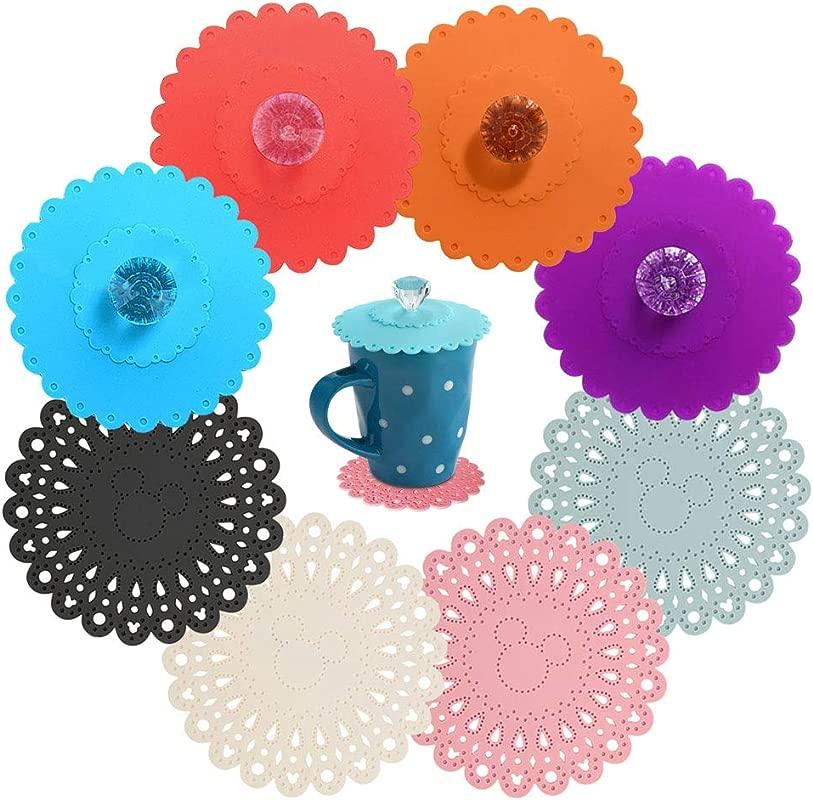 Food Grade Silicone Cup Lids Set Incl 4 Creative Diamond Mug Covers 4 Non Slip Coasters Anti Dust Airtight Seal Cup Lids Non Slip Drink Coaster Protects Tabletop