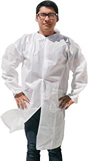 Makerspace Lab Disposable Lab Coats Adult Large 10 Pack | Durable Polypropylene, Elastic Cuffs, Front Snap Fasteners | For Classroom Science Labs, Science Parties, Medical, Biology, Dental