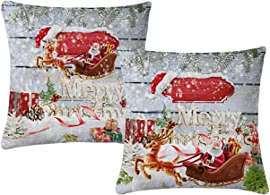 Wtisan Christmas Decor Merry Christmas Pillow Covers Christmas Decorations for Home 18 x 18 Inch Set of 2,Super Soft Velve Material