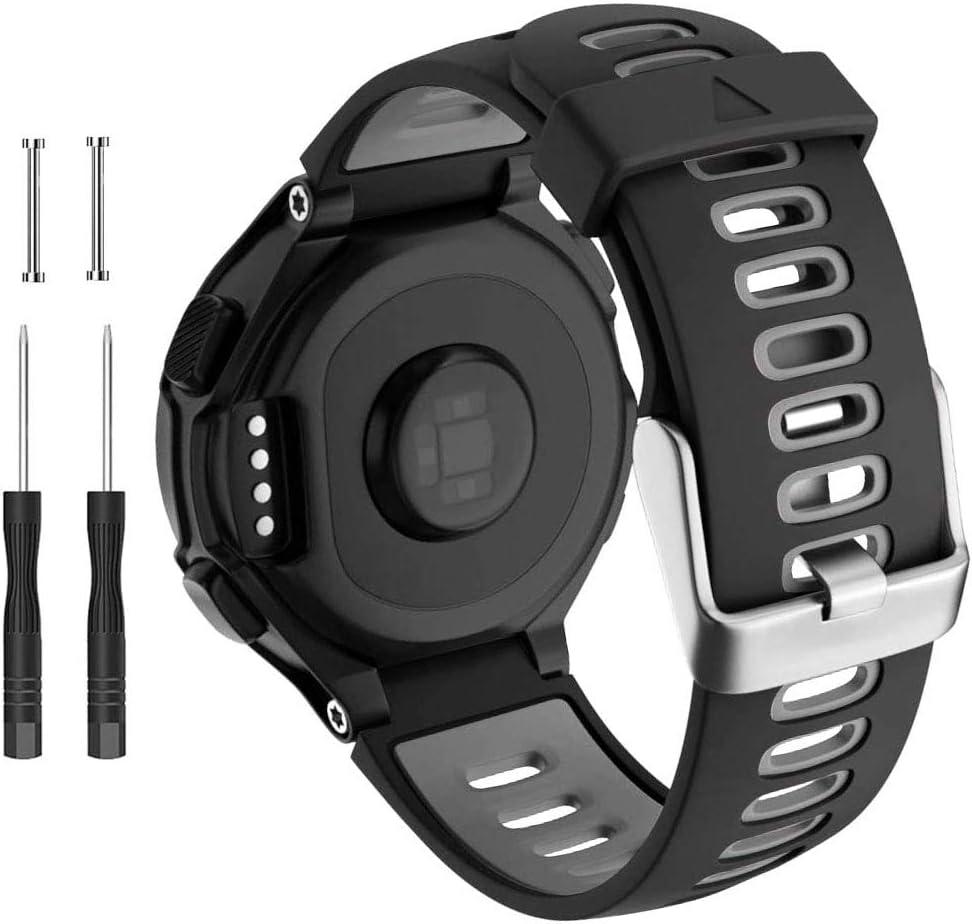 CAKAMENSHY Correa de reloj compatible con Garmin Forerunner 735XT 220 230 235 620 630 Approach S20 S5 S6 Banda de silicona suave con hebilla de metal para reloj inteligente Garmin accesorio (negro)