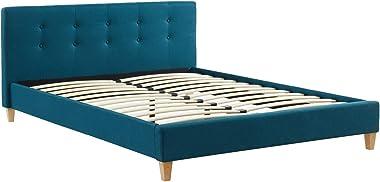 HOMIFAB Lit Adulte avec tête de lit capitonnée en Tissu Bleu Canard - sommier à Lattes 140x190cm - Collection Milo