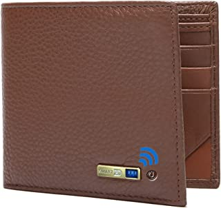$25 » Smart Anti-Lost Bluetooth Tracker mens wallet , Position Record (Via Phone GPS), Bifold Genuine Leather Men's Wallets (Brown)